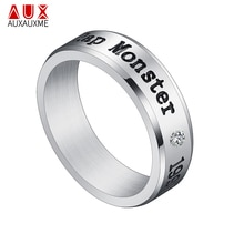 Auxauxme Titanium Steel Rap Monster Zircon Rings Gold Wedding Promise Ring For Women Men Engagement Jewelry Gift