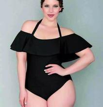 2017 Plus Size Een Stuk Badmode Vrouwen Fluwelen Badpak Ruche Bodysuit Plus Size Monokini Halter Badpak Beach Wear 4XL