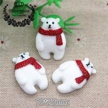 10 sztuk Kawaii brokat biały boże narodzenie niedźwiedź żywica Flatback Cabochon urok DIY telefon/Craft dekoracji, 18*27mm