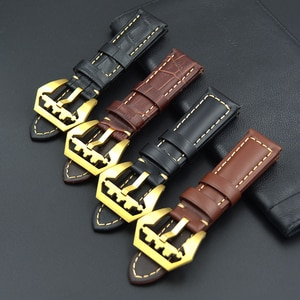 22mm 24mm Watch Strap Genuine Leather Watch Bands Durable Good Quality Bracelet black Brown Watchbands Big Gold buckle for PAM