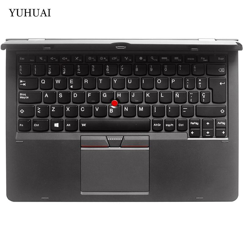 Para Lenovo ThinkPad X1 Helix 2 SP/teclado español para ordenador portátil + reposamanos + Fondo + ventilador disipador de calor + placa base + Cable minúscula cubierta parte