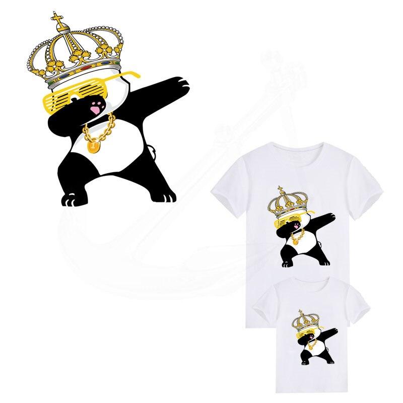 2018 caliente Dabbing corona Panda de hierro en parches 24*20cm Diy camiseta Parche de transferencia térmica para ropa