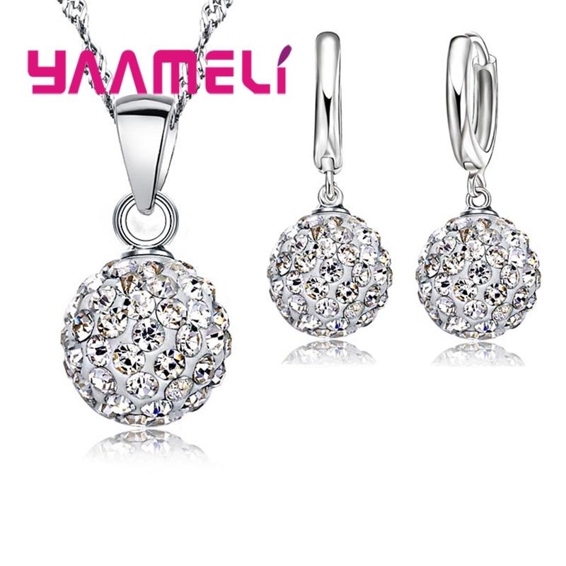 Блестящий-последний-набор-ювелирных-изделий-из-стерлингового-серебра-925-пробы-с-австрийскими-кристаллами-диско-шар-рычаг-назад-серьги-о