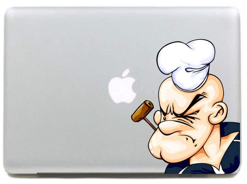 Pegatina de vinilo Popeye smoking a pipe para Macbook Pro DIY/Air 11 13 15 pulgadas funda de portátil