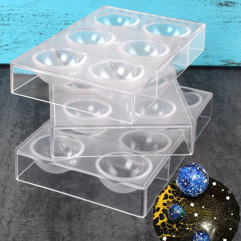 Molde para o chocolate 6/8/12/15 grande meia esferas formas molde de policarbonato de chocolate 3d ferramenta de molde de geléia de doces de policarbonato