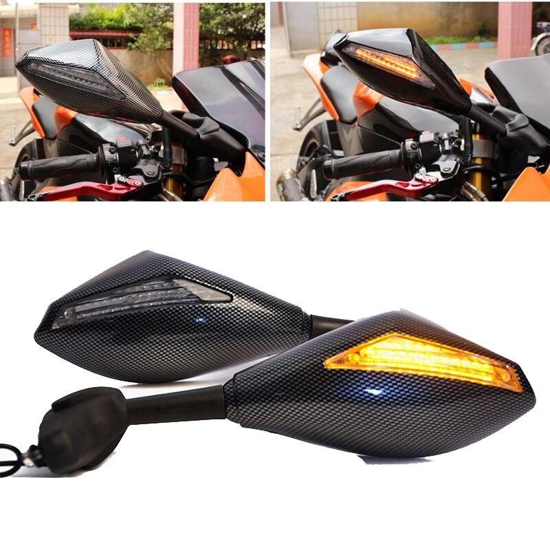 Espejos de motocicleta, luz led de intermitentes, espejo para motocicleta, lámpara lateral trasera, lente de humo de carbono, indicador para Yamaha SUZUKI Honda
