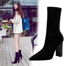 Bigtree chaussures femmes bottines à tricoter chaussures femme chaussettes bottes chaussures Botas Mujer Invierno 2020 talon épais concepteur talons Buty