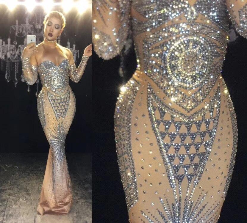Sexy prata glisten cristais traje noite aniversário celebrar vestido usar roupa de luxo super sparkly strass vestido longo