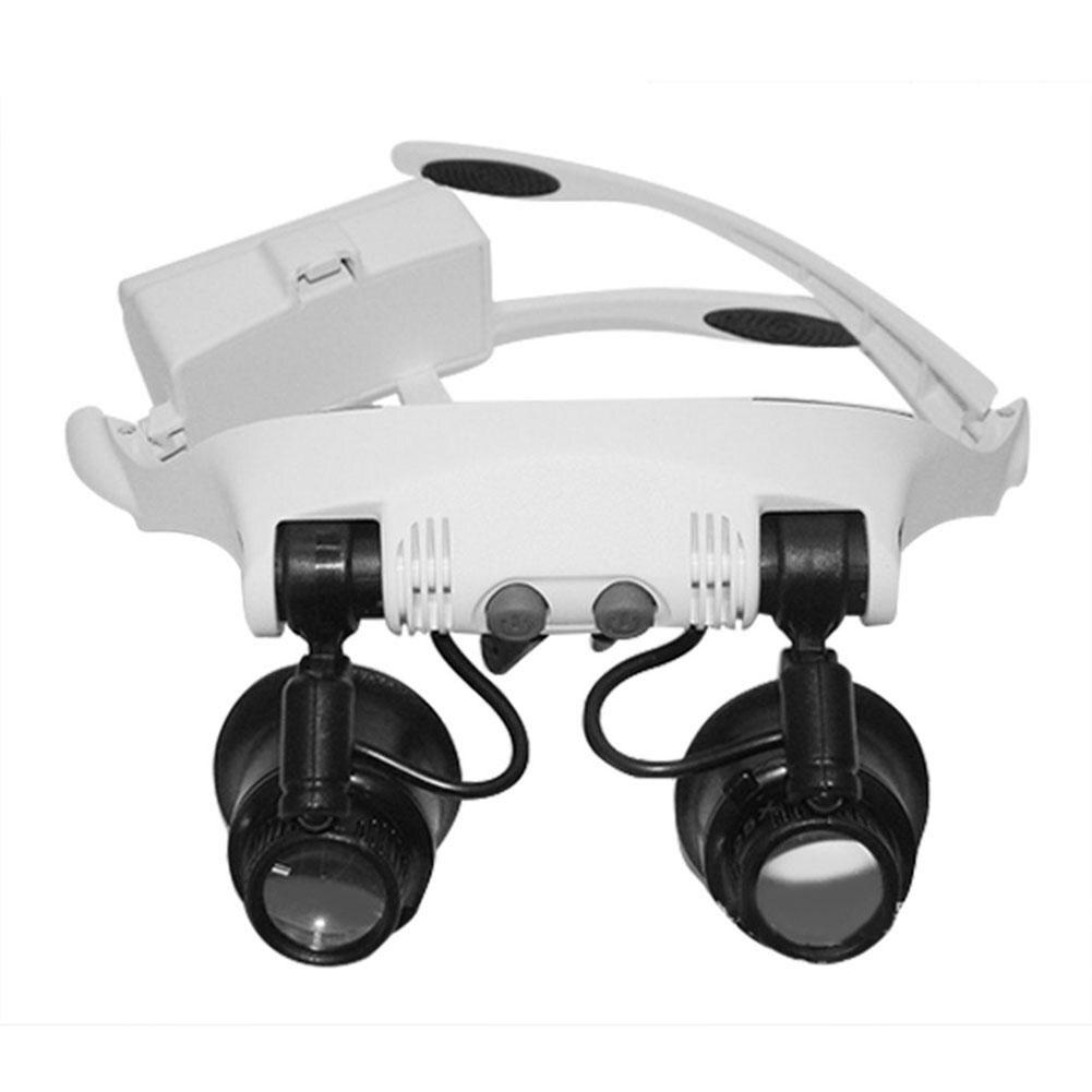10X 15X 20X 25X увеличительное стекло для очков с двумя линзами для глаз ювелирное измерение для ремонта часов с 6 линзами + 2 светодиодными лампами