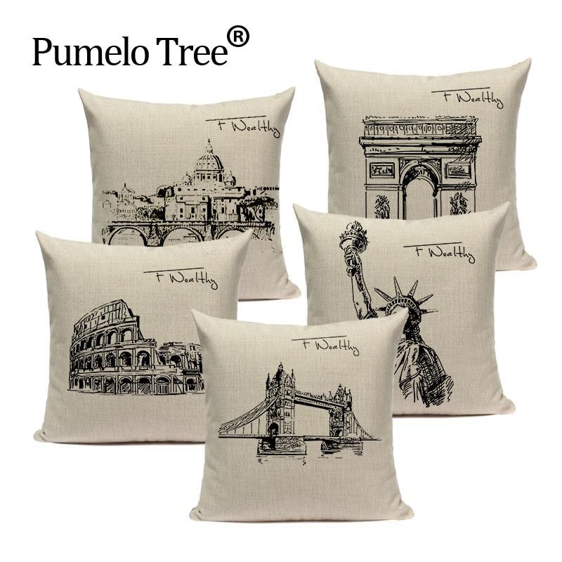 Simples almofada almofadas decorativas personalizado capa de almofada edifício vento travesseiro para travesseiro estátua da liberdade