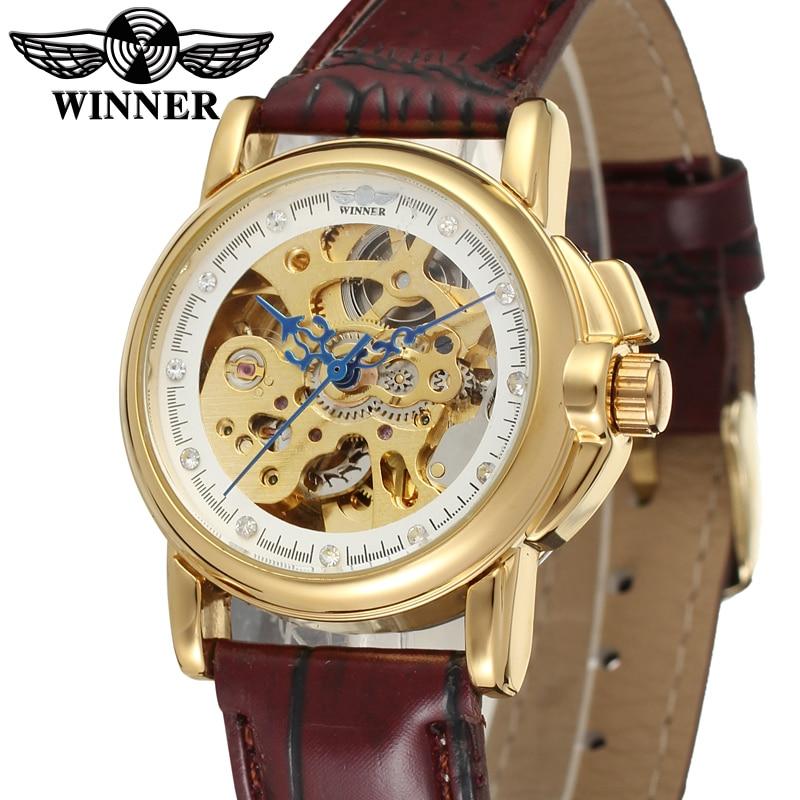 Branco e Dourado Superfície com Ponteiro Pulseira de Couro Relógio Vencedor Azul Marrom Avermelhado Masculino Automático