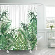 Cortinas de ducha impermeables hojas de palma verde Tropical HOJA DE Monstera Floral verano botánica Playa Blanca Natural Extra larga
