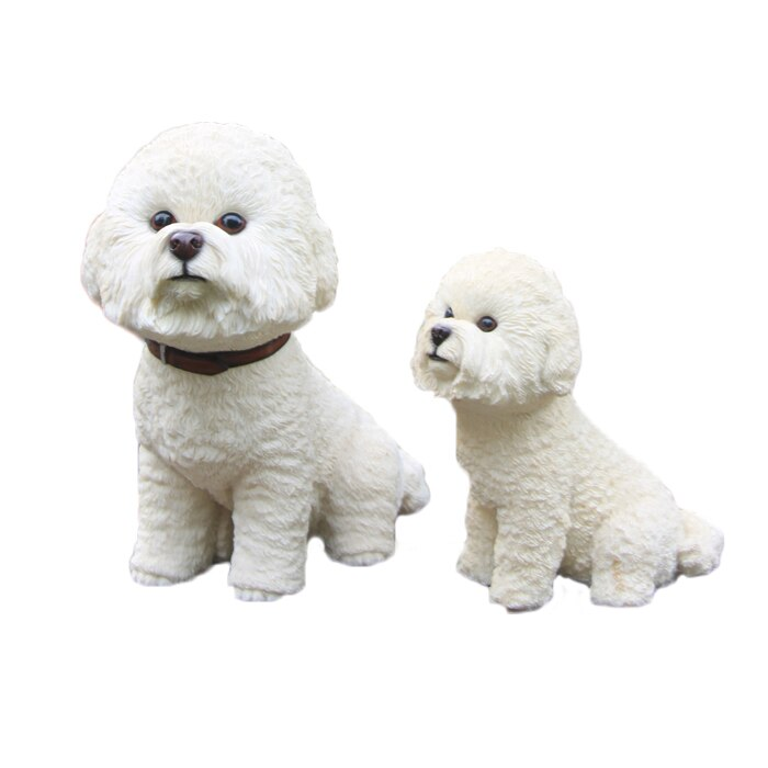 Gran resina Linda Bichon Frise perro decoración del hogar estatua tallada a mano