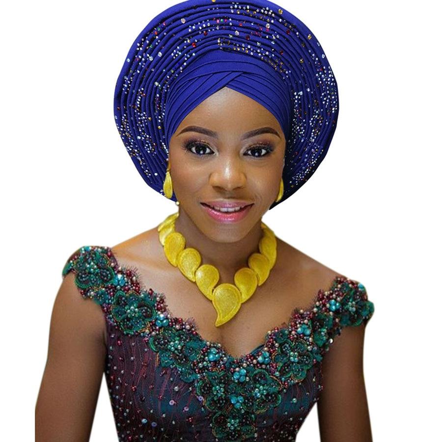 الأفريقية هيدتي النيجيري هيدتي مع الخرز الأحجار السيارات gele الأفريقية gele لحفل الزفاف