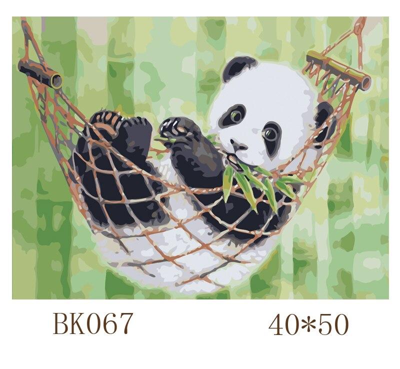 Cuadro de Panda sin marco, pintura DIY por números, arte de pared moderno, pintura al óleo pintada a mano sobre lienzo, decoración para sala de estar