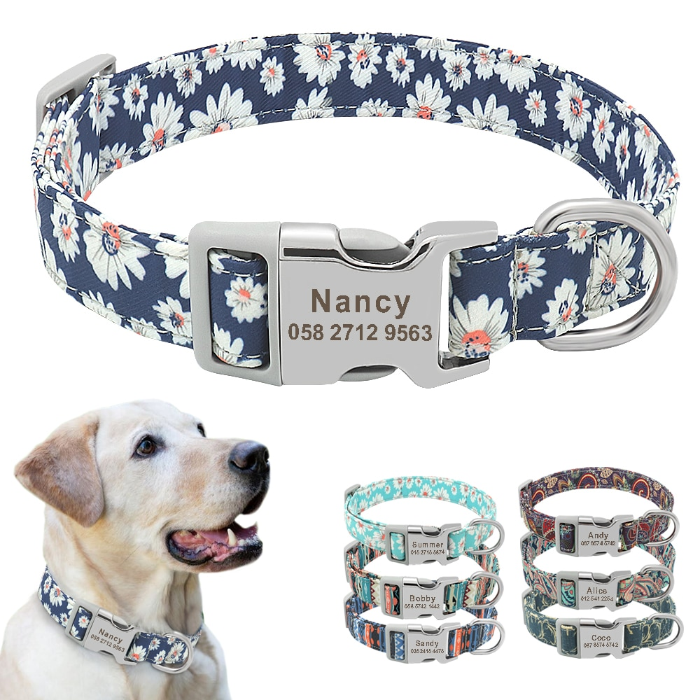 Custom Dog Collar Nylon Floral Engraved Pet Puppy Collar Print Personalized Name Collars for Small Medium Large Dogs Pitbull personalized dog collar nylon print dog collars customized puppy pet collar engraved name id for small medium large big dogs pug