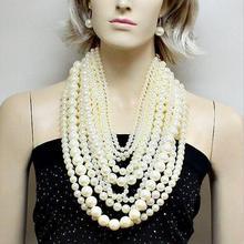 Mode chaîne multicouche exagérée grand collier de perles femmes licou luxe long collier banquet fête bijoux dames