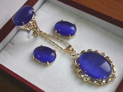 Anillo de ópalo azul plateado de 13x18mm (#6,7, 8,9) Conjunto de pendientes de joyería> reloj al por mayor piedra de cuarzo CZ cristal