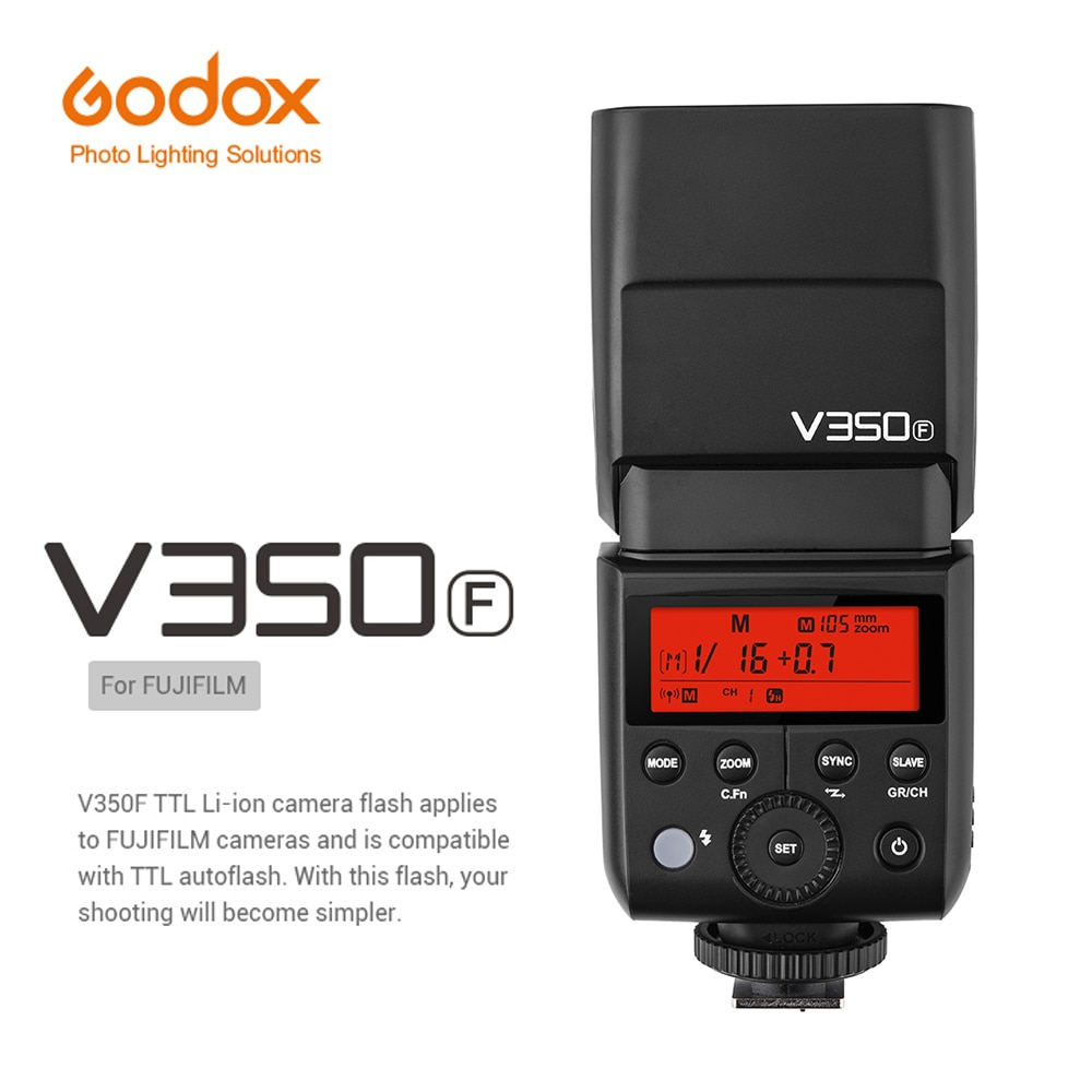 GODOX V350F TTL فلاش Speedlite ضوء ل فوجي فيلم X-T1 X-T2 X-T10 X-T20 X-pro2 GFX50s X-A3 كاميرا مع بطارية