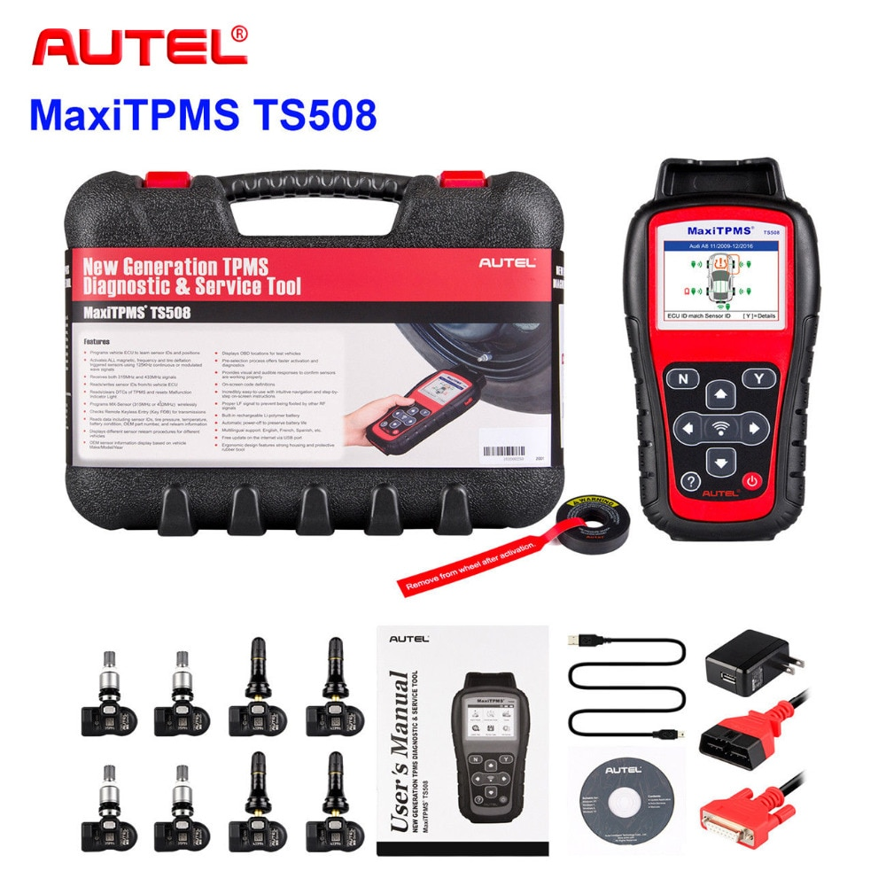 Autel TPMS инструмент для замены TPMS программирующий ИНСТРУМЕНТ MaxiTPMS TS508K давление в шинах 315/433 МГц TPMS активация датчика шины