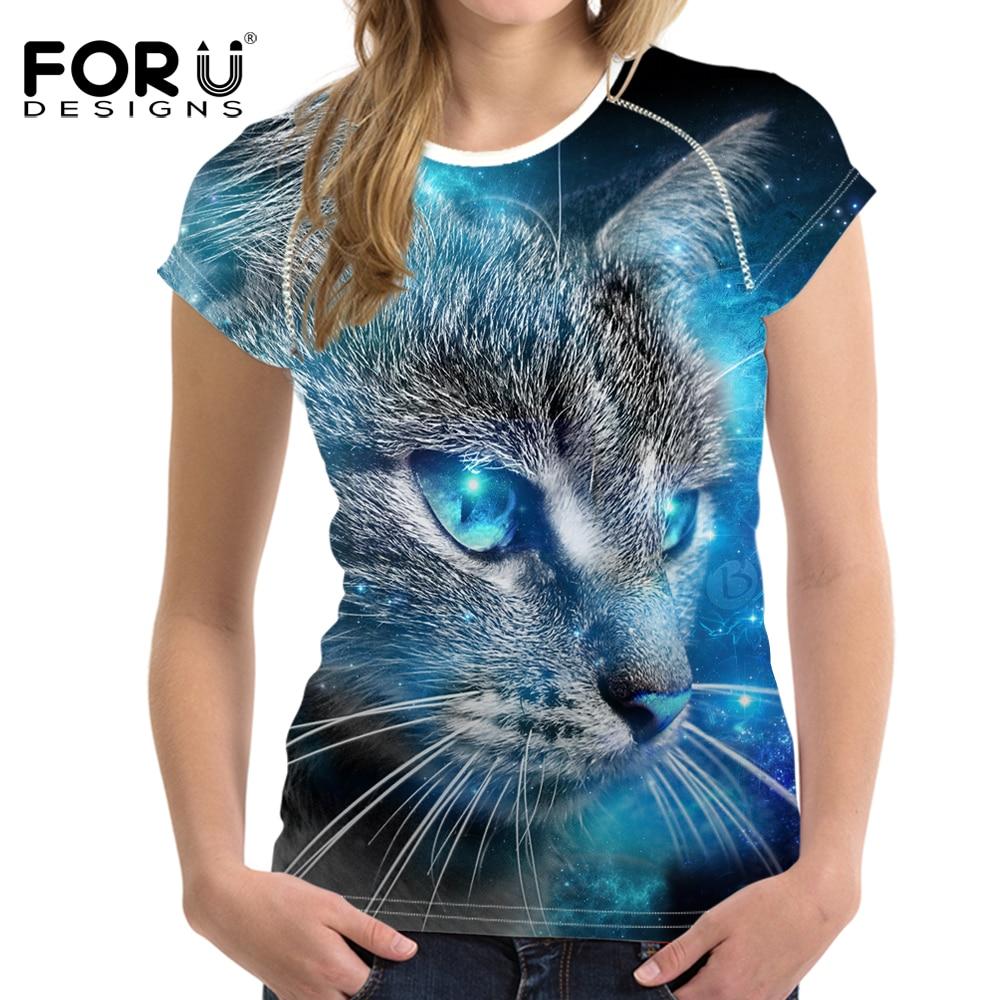 FORUDESIGNS 3D Galaxy Cat Printing Women Summer T Shirt Elastic Woman Tops Fashion T-shirts For Girls Female Tees Brand Clothing