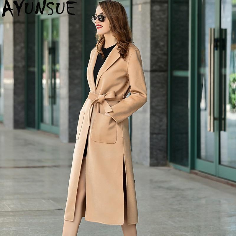 De doble cara 100% lana abrigo Mujer ropa 2019 chaqueta de primavera...