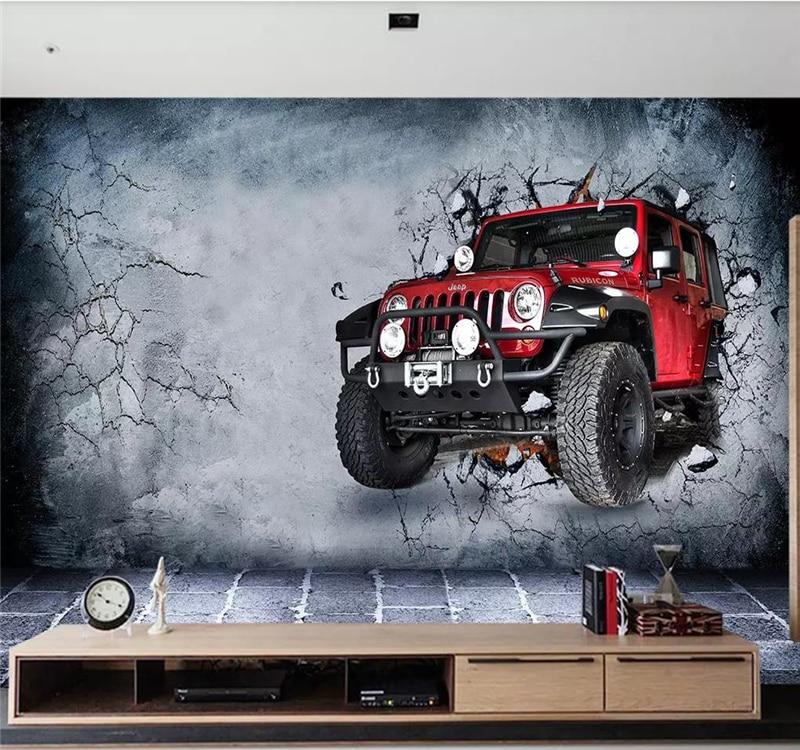 Custom wallpaper mural 3d retro luxury car broken wall background wall high-grade waterproof silk material недорого