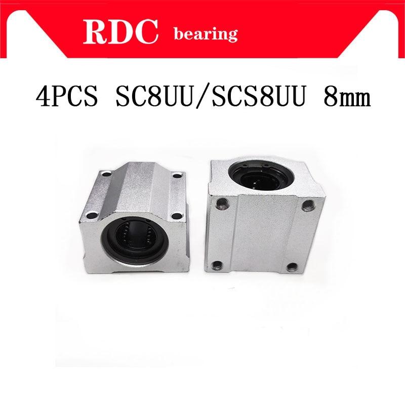 Alta calidad 4 Uds SC8UU SCS8UU 8mm bloque de rodamiento de bolas lineal con LM8UU bush almohada bloque lineal XYZ tabla CNC Router