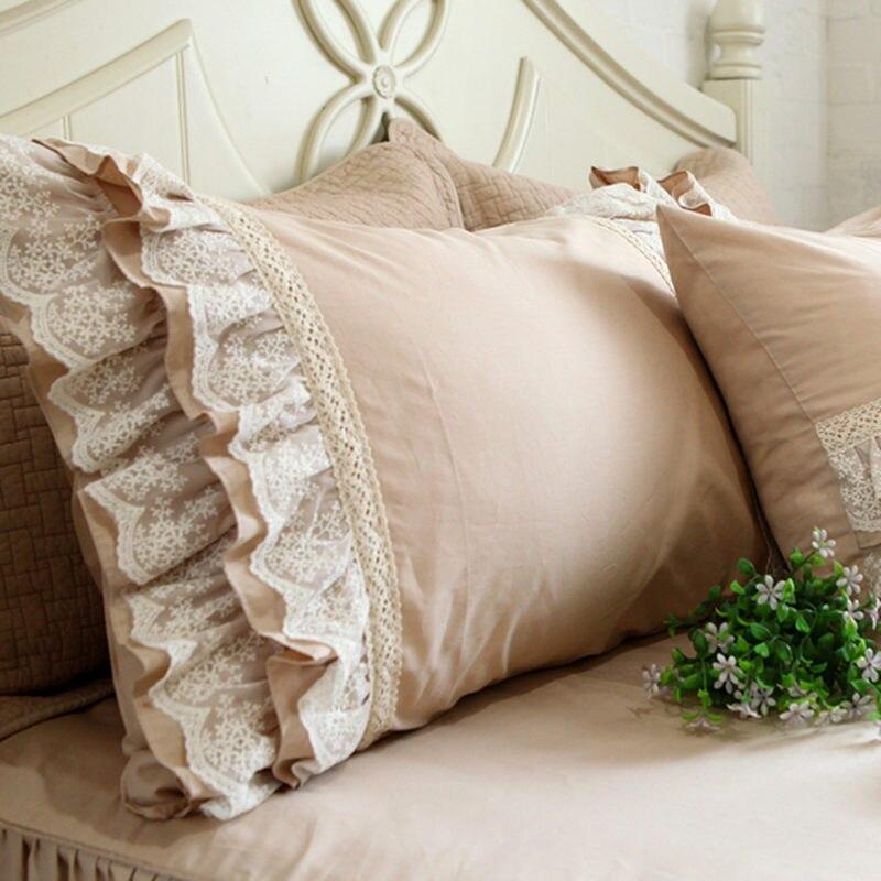 2pcs Embroidered Lace Pillow Case European Style Satin Cotton Pillowcase Bedding Pillow Sham Luxury Pillow Cover No Filler