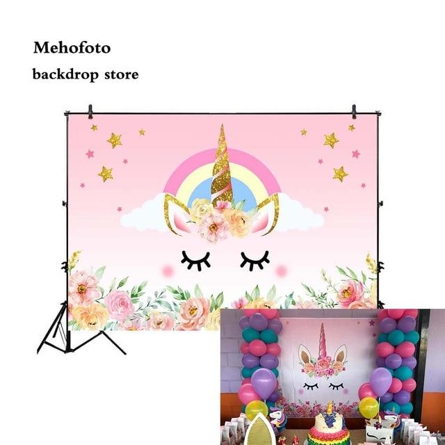 Fondos de vinilo unicornio flor imagen de fondo real sesión de fotos fiesta recién nacido bebé fondos de Ducha
