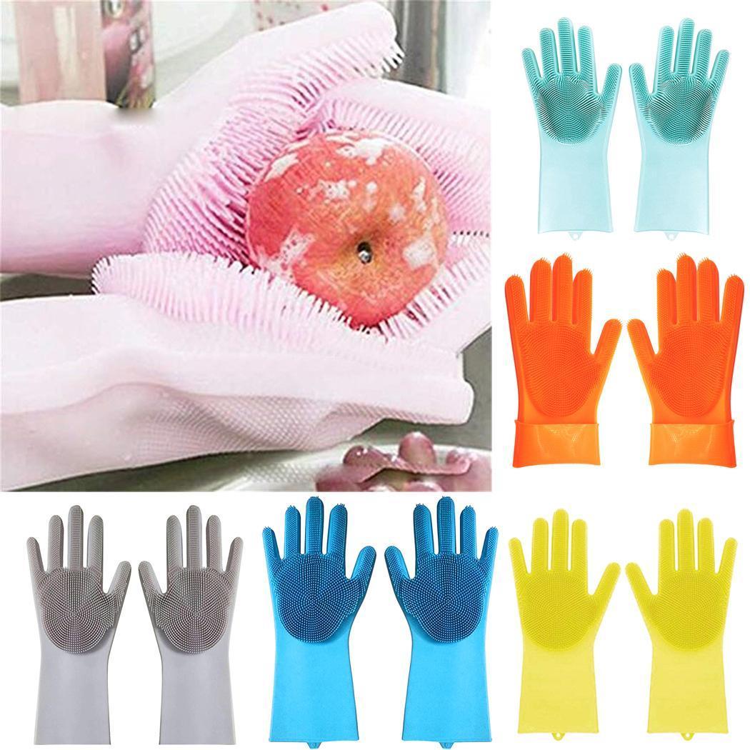 Многоразовые пищевого класса перчатки для мытья посуды силиконовые с чистящей