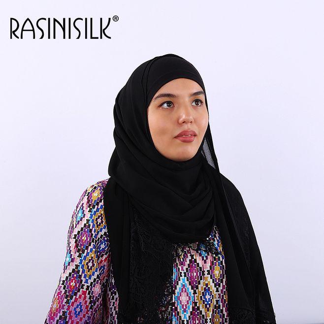 Hermosos pañuelos musulmanes Premium de gasa con encaje Floral Mantón largo árabe Turquía femenino pañuelo hijab islámico 70x170cm
