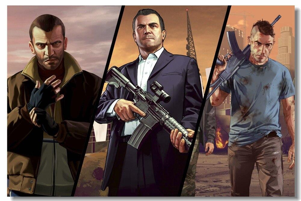 Custom Canvas Wall Mural Video Game GTA 5 Posters And Prints Grand Theft Auto V Niko Bellic Michael Sticker Bedroom Decor #0927#