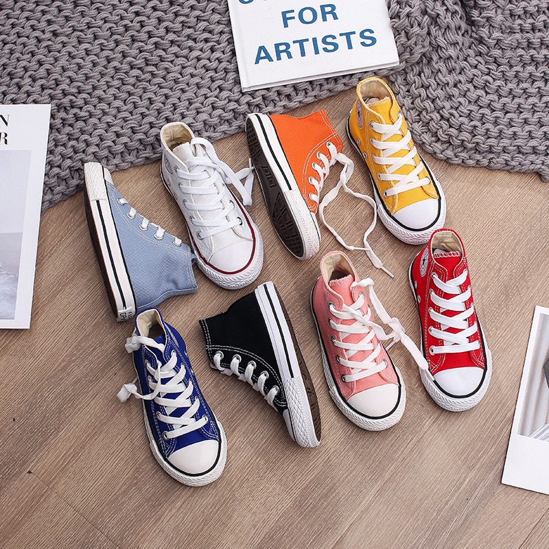 Spring Autumn High Top Sneakers Girl Child Shoes 13 Colors Toddler Boy Sneakers Baby Kids Canvas Sta