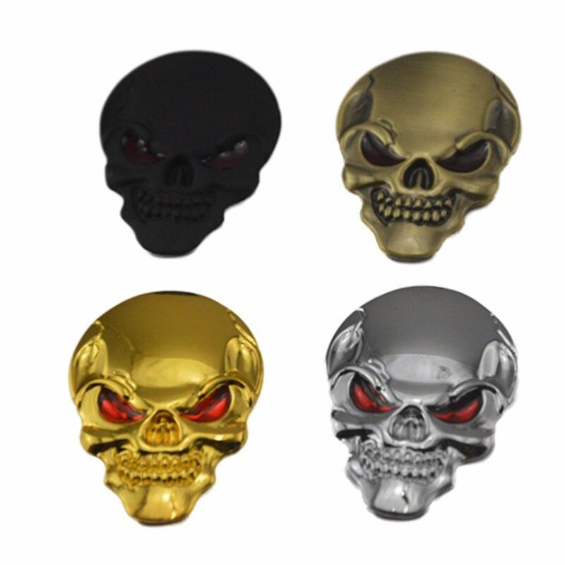 1 Uds 5cm x 3,5 cm pegatinas de Cráneo de Metal 3D para coche Logo emblema insignia nombre coche camión Auto pegatina adhesiva de Motor coche estilo