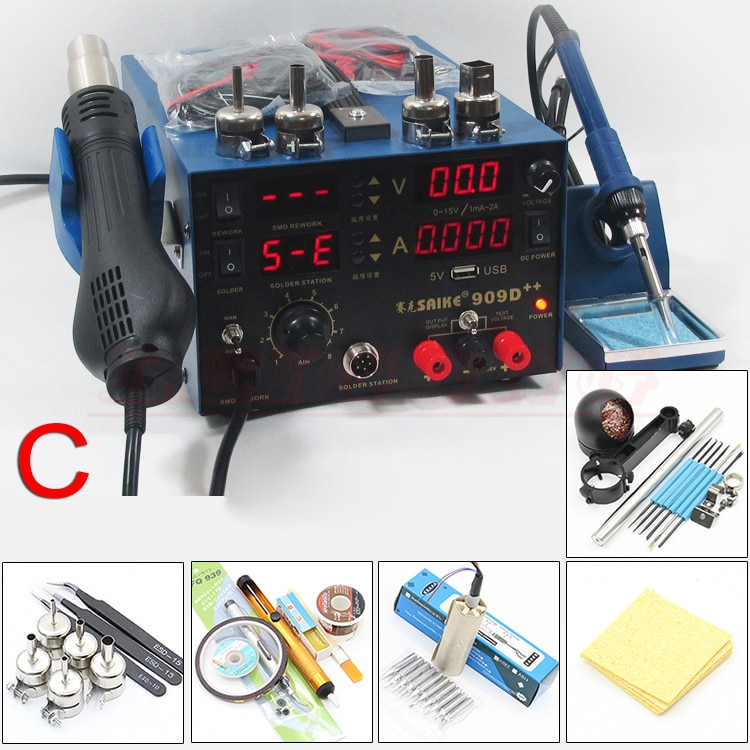 SAIKE 909D++ 3in1 Soldering iron + Heat Gun + Power Supply Welding Repair Solder Station With Free Gifts 110V or 220V