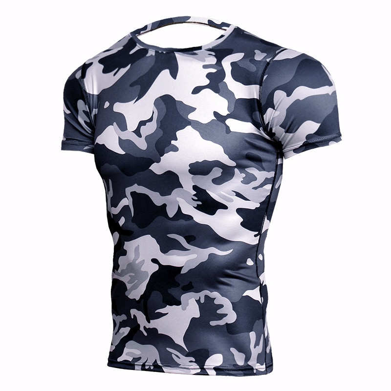 2018 Bodybuilding Running T Shirt Men Camo 3D Short Sleeve Sport Shirt Men Fitness Tshirt Rashgard Gym T-Shirt Compression Shirt