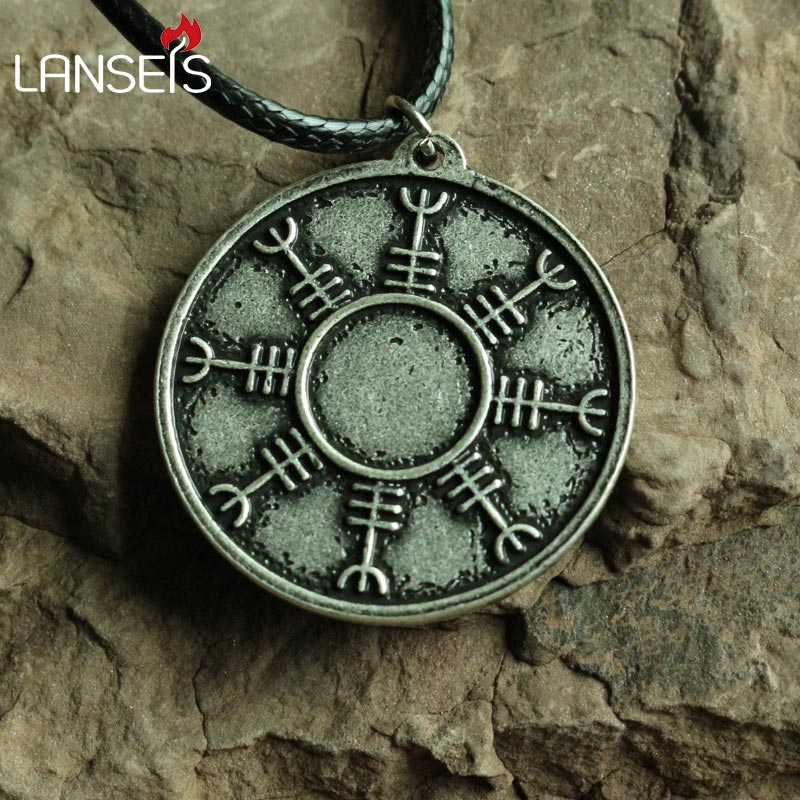 lanseis10pc retro helm of awe Viking Icelandic Rune Pendant ancient Greek Amulet Talisman necklace handmade jewelry