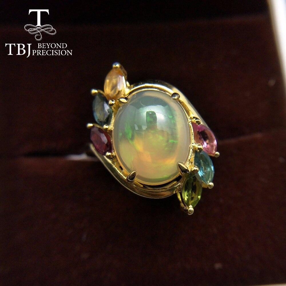 TBJ-خاتم من الفضة الإسترليني عيار 925 مرصع بحجر التورمالين ، خاتم بيضاوي ملون من العقيق الإثيوبي الطبيعي 10 × 12 مللي متر مع صندوق هدايا للنساء
