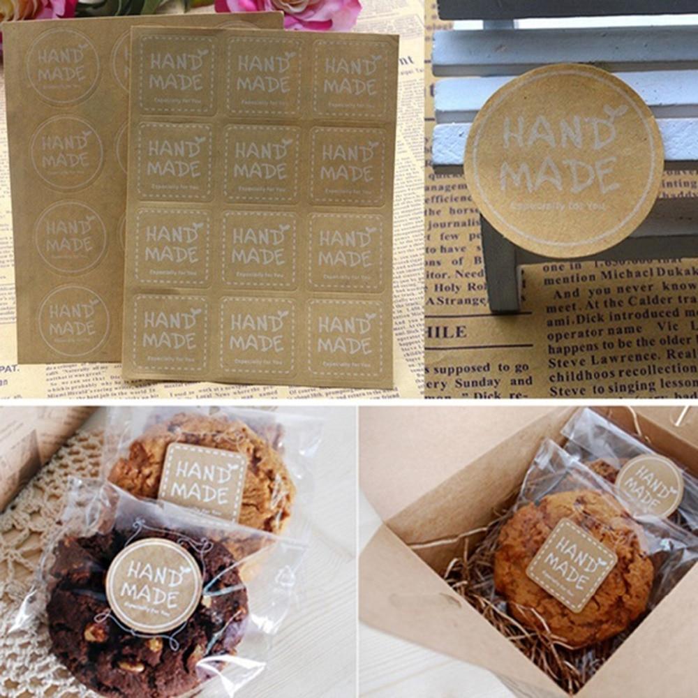 120 Uds papel hecho a mano Kraft etiquetas de regalo Paquete de pegatinas dulces para jabón o galleta bolsas de embalaje Cupcake envoltura bolsa de regalo autoadhesiva