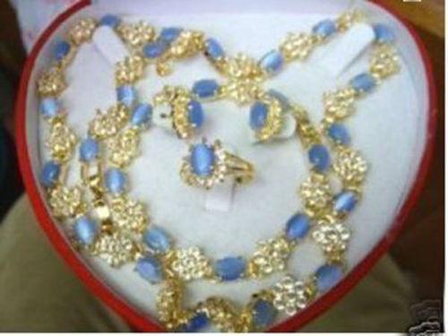 Hermoso collar pulsera anillo pendientes gema natural ópalo conjunto cuarzo fino reloj ancho para novia alas mujer reina