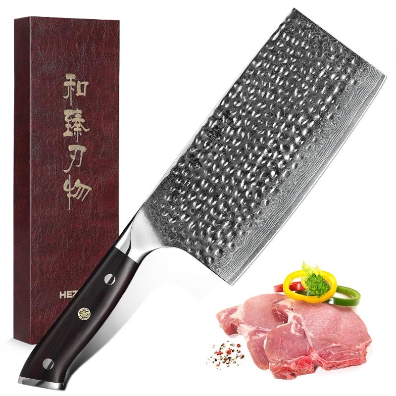 HEZHEN 7'' inch Cleaver Nakiri Kitchen Knives High Carbon Damascus Stainless Steel Big Butcher Sharp Blade Comfortable Handle