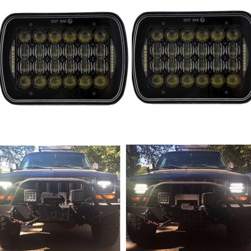 "Faro LED de haz sellado Rectangular de 5X7 7X6 pulgadas con LED DRL para faro H6014 H6052 H6054 H6052 72W 7 ""para camión Jeep XJ MJ"
