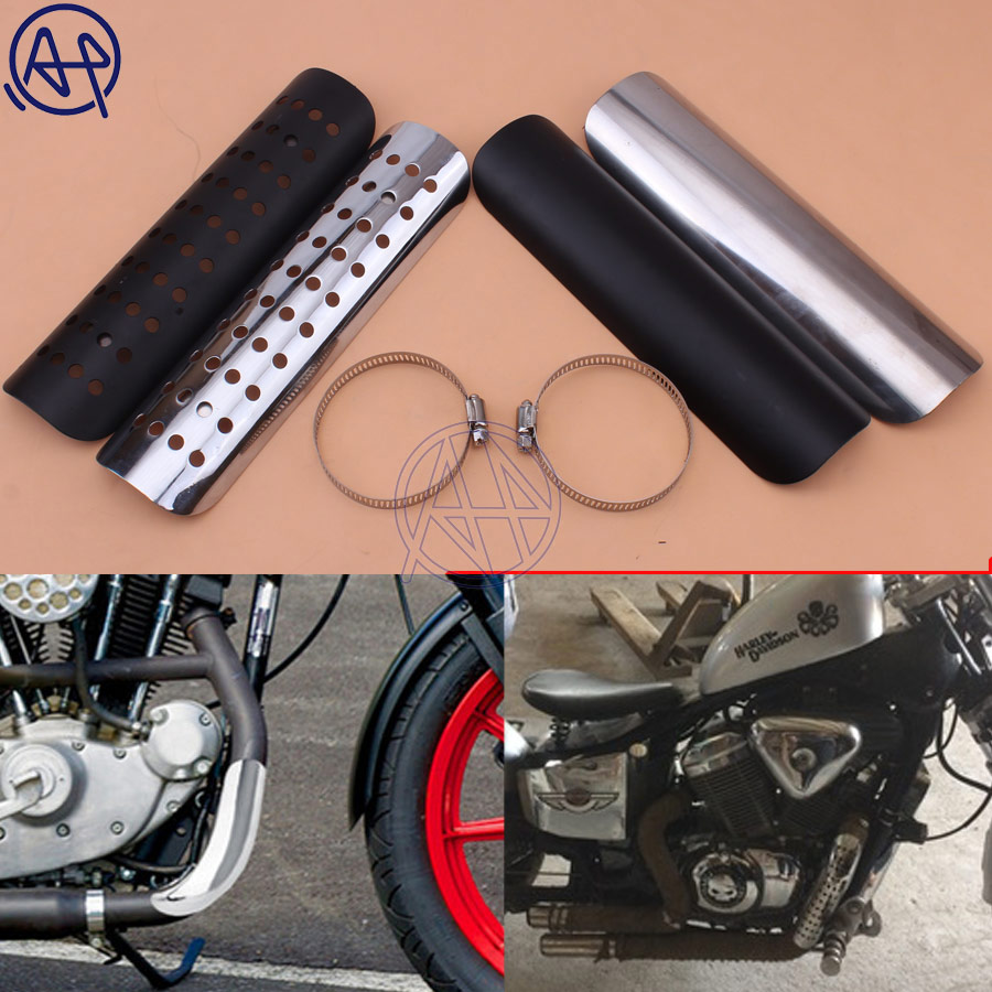 22,8 cm Motorrad Auspuff Rohr Hitzeschild Abdeckung Schutz Protector Universal Für Honda Harley Chopper Cruiser Schwarz/Chrom