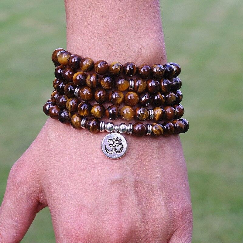 Frauen Männer schmuck 8mm Tigerauge Stein Perlen Tibetischen OM strang Armband-handgemachte DIY 108 Mala Perlen Yoga Armband oder halskette
