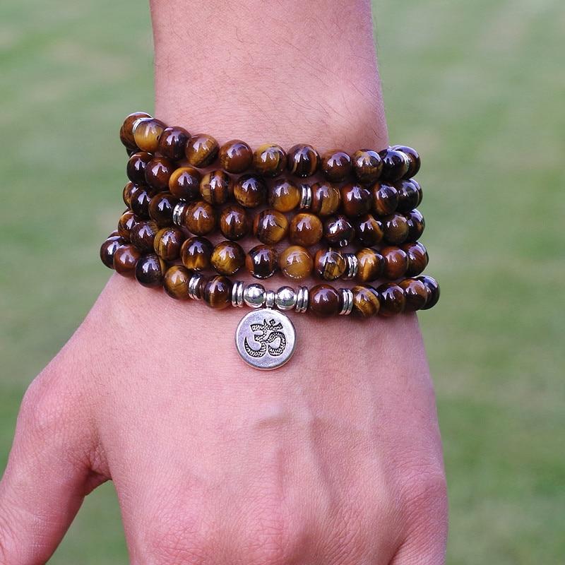 Mulheres jóias 8mm tiger eye pedra contas tibetano om strand pulseira artesanal diy 108 mala contas pulseira yoga ou colar