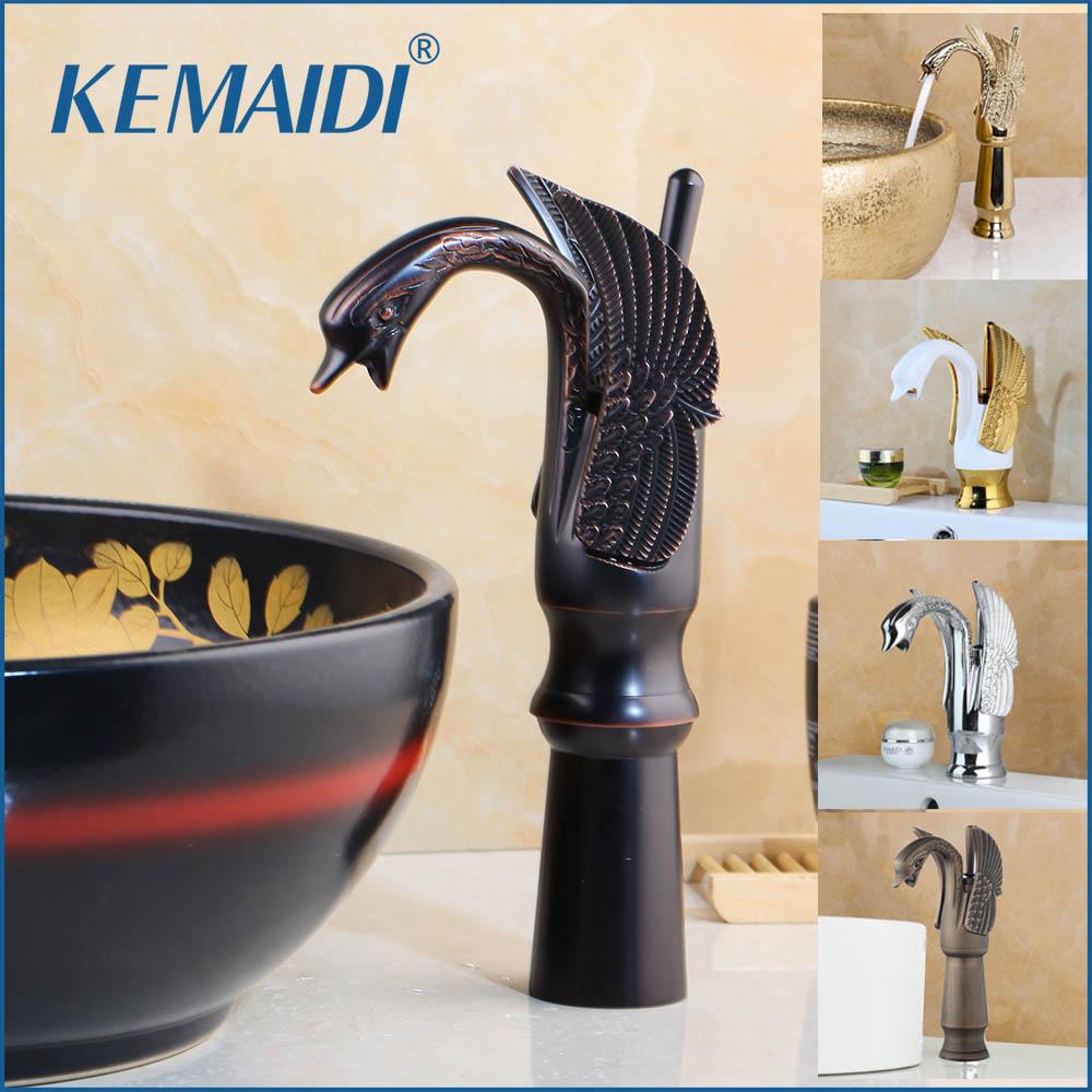 KEMAIDI, grifo de fregadero de latón con forma de cisne, conjunto de centro de baño de un solo agujero, mezclador para lavabo, grifo de bañera cromado ORB dorado