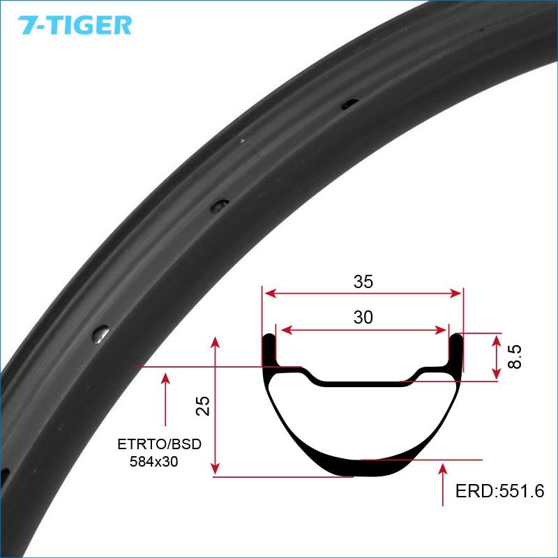 7-TIGER 27.5er carbone vtt jantes pneu tubeless type vélo 25 mm haute TMC725 carbone jante ud finition mate