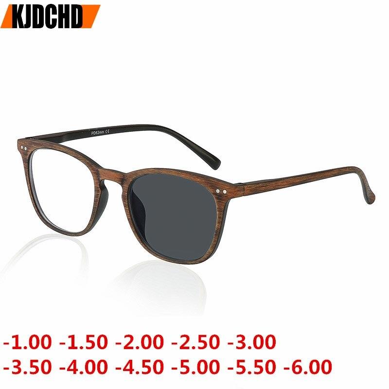 -1.00 para-6.00 retro cor de madeira redonda sol fotochromic acabado miopia óculos quadro masculino feminino óculos de sol miopia eyewear