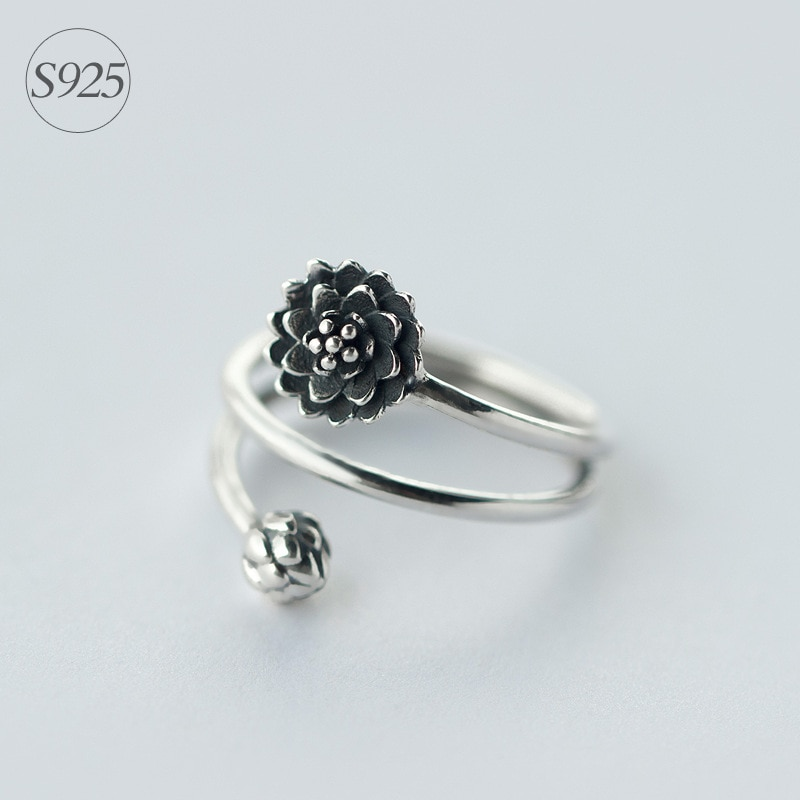 Retro ECHTE. Solid 925 Sterling Silber schmuck 3-schichten Multi-Reihen Lotus Blume & Bub Ring Namaste Yoga GTLJ911